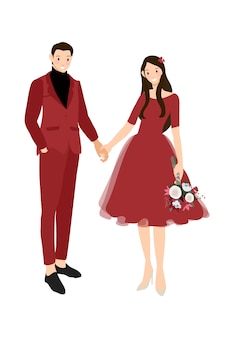 Casal de noivos chineses no vestido vermelho tradicional, segurando as mãos ilustração