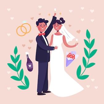 Casal de noivos com anéis e folhas