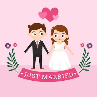Casal de noivos com noiva e noivo