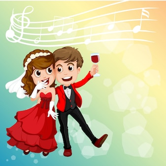 Casal de noivos comemorando com notas musicais no fundo
