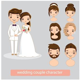 Casal de noivos conjunto de coleta de caracteres