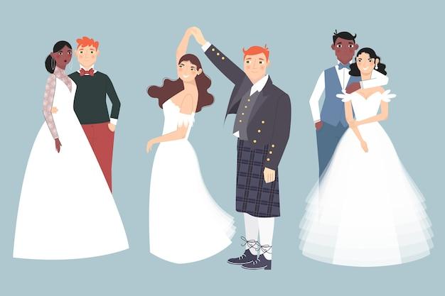 Casal de noivos dançando juntos