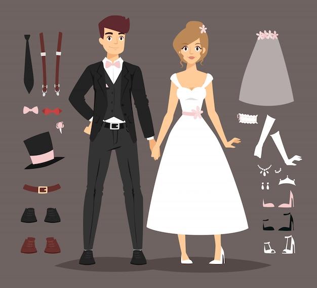 Casal de noivos dos desenhos animados e ilustração vetorial de elementos