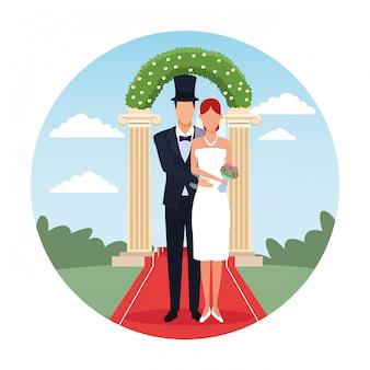 Casal de noivos dos desenhos animados