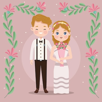 Casal de noivos e flores