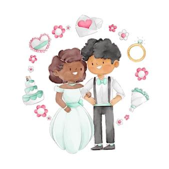 Casal de noivos em aquarela com ilustração de quadro