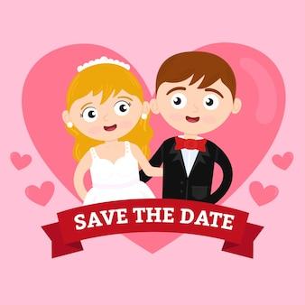 Casal de noivos em design plano