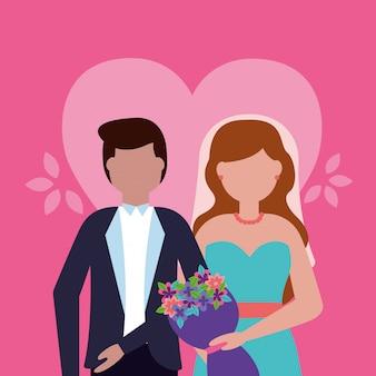 Casal de noivos em estilo simples