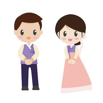 Casal de noivos em vestido de noiva tradicional coreano