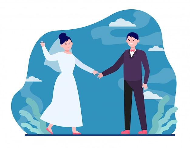 Casal de noivos feliz