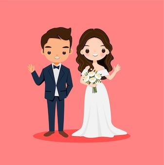 Casal de noivos fofos em personagem de desenho animado de vestido de noiva