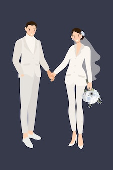 Casal de noivos hipster em calças de terno branco, de mãos dadas