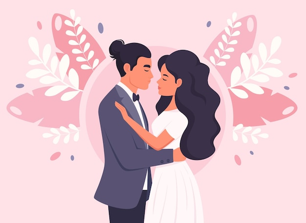 Casal de noivos homem e mulher se casando com recém-casados retrato de casamento