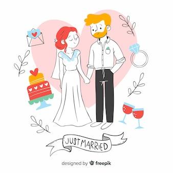 Casal de noivos mão estilo desenhado