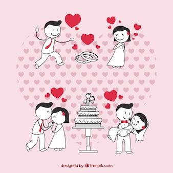 Casal de noivos no amor