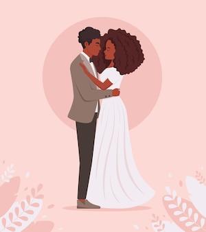 Casal de noivos retrato de casamento de casal afro-americano