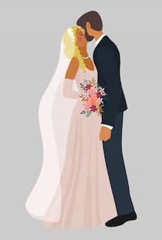 Casal de noivos se beijando