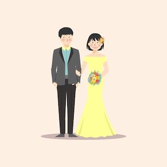 Casal de noivos segurando a mão e flor bouquete
