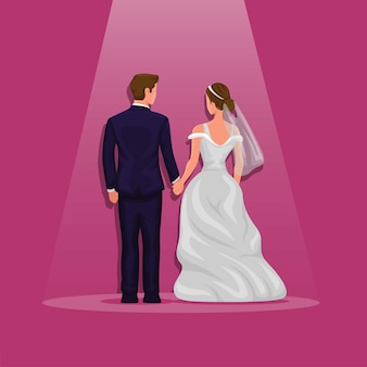 Casal de noivos segurando a mão sob o holofote da vista traseira do vetor dos desenhos animados do evento do casamento de noiva