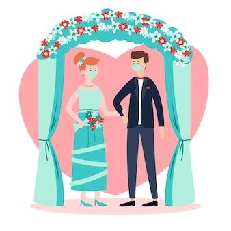 Casal de noivos usando máscaras faciais