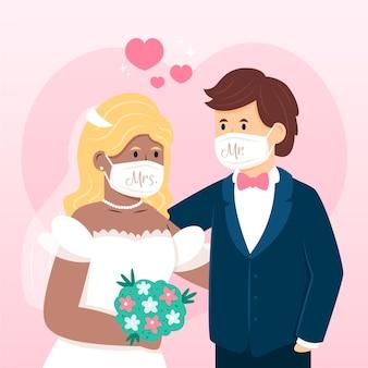 Casal de noivos usando máscaras