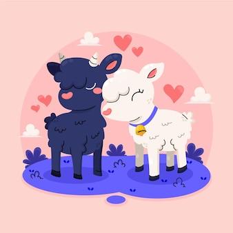 Casal de ovelhas desenhadas à mão para o dia dos namorados