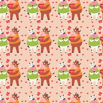 Casal de padrão apaixonado touro e vaca dão presentes. papel digital do dia dos namorados com animais fofos. papel de embrulho repetível para crianças para os amantes. impressão de férias de vetor em fundo bege