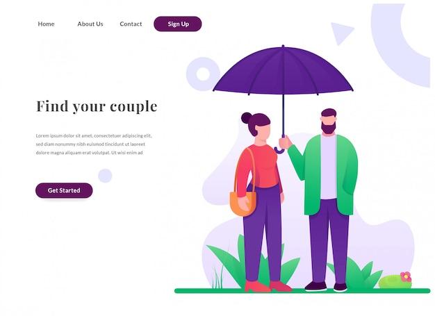 Casal de página de destino da web com guarda-chuva