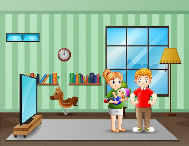 Casal de pais com bebê na sala de estar