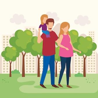 Casal de pais com filha no parque