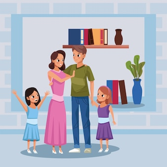 Casal de pais com filhas fica em casa campanha