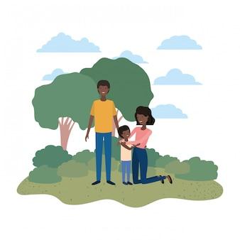 Casal de pais com filho em avatar de paisagem
