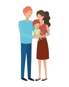 Casal de pais com personagem de avatar de filho
