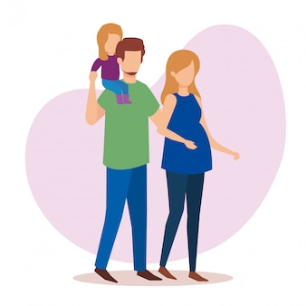 Casal de pais com personagens da filha