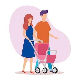 Casal de pais com personagens de bebê carrinho