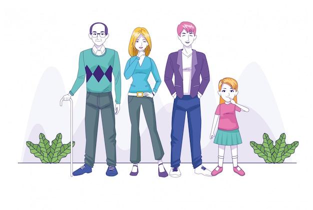 Casal de pais com personagens de família filha e avô
