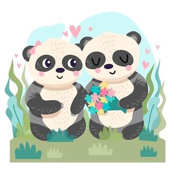 Casal de pandas desenhados à mão no dia dos namorados