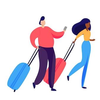 Casal de passageiros carregando bagagem