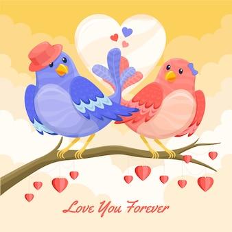 Casal de pássaros fofos ilustrado