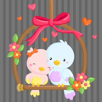 Casal de pássaros no amor