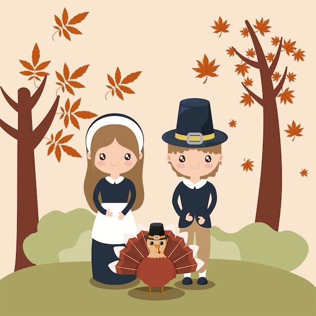 Casal de peregrinos com folhas de outono