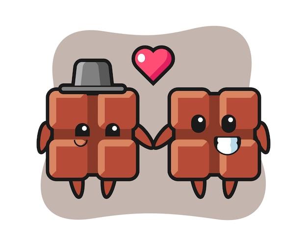 Casal de personagem de desenho animado de barra de chocolate com gesto de queda no amor, estilo fofo kawaii.