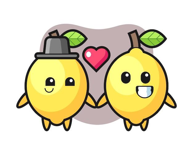 Casal de personagem de desenho animado de limão com gesto de queda no amor