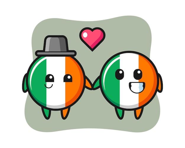 Casal de personagem de desenho animado do distintivo da bandeira da irlanda com gesto de apaixonar-se