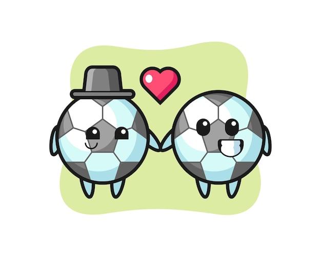 Casal de personagens de desenhos animados de futebol com gesto de paixão, design de estilo fofo para camiseta, adesivo, elemento de logotipo