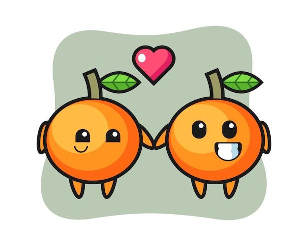 Casal de personagens de desenhos animados de laranja mandarim com gesto de paixão, estilo fofo, adesivo, elemento de logotipo