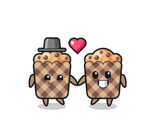 Casal de personagens de desenhos animados de muffin com gesto de apaixonar-se, design fofo