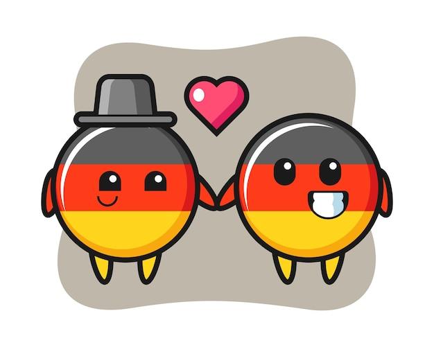 Casal de personagens de desenhos animados distintivo de bandeira da alemanha com gesto de apaixonar-se