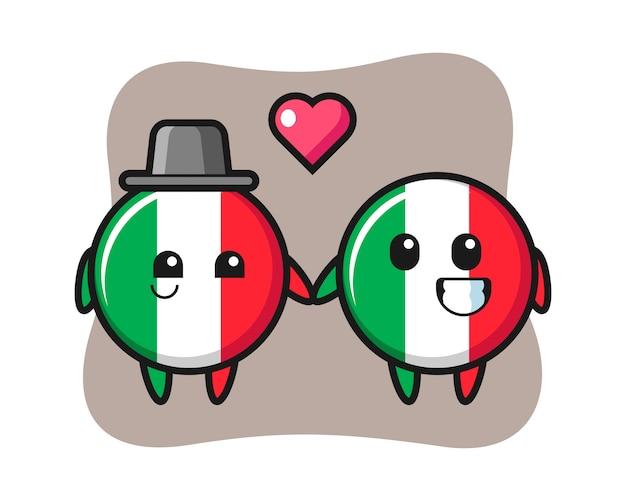 Casal de personagens de desenhos animados do distintivo da bandeira da itália com gesto de paixão, estilo fofo, adesivo, elemento de logotipo