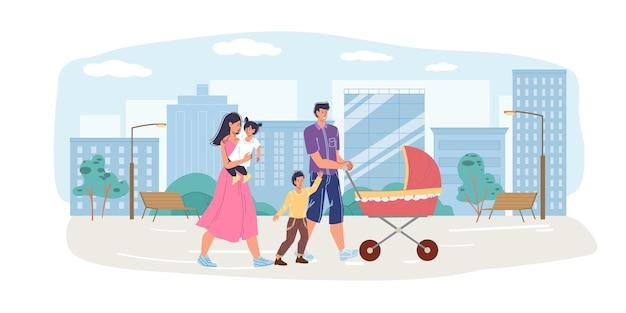 Casal de personagens de família feliz em desenho animado caminha com carrinho de bebê